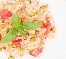 Risotto z pomidorami i zielonym groszkiem